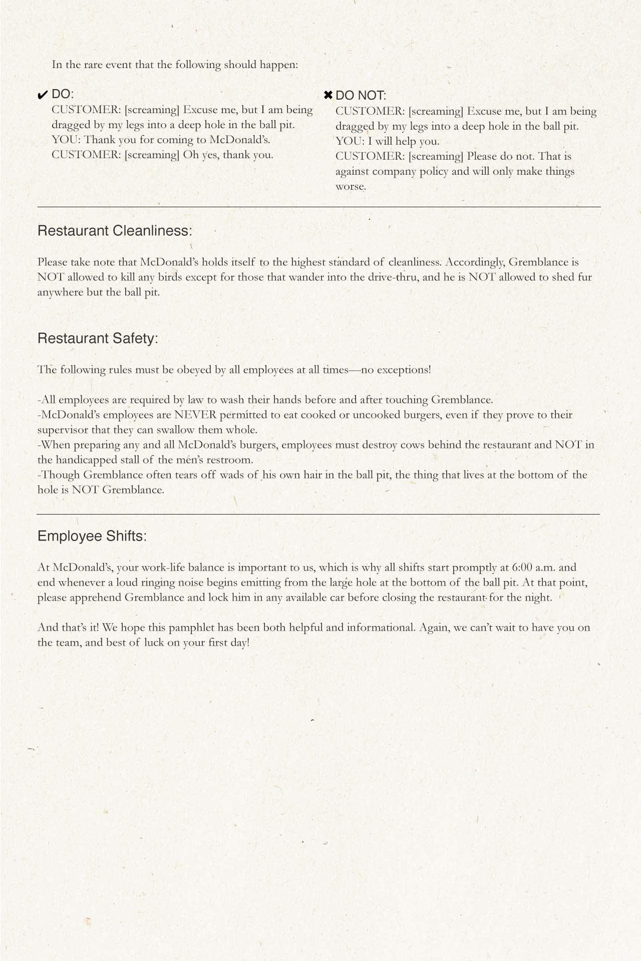 the original mcdonald s employee training manual is a must read rh lifestyle clickhole com mcdonald's canadian o&t manual No McDonald's
