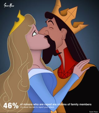 Illustration for article titled Artist Uses Disney Princesses in Rape Awareness Posters
