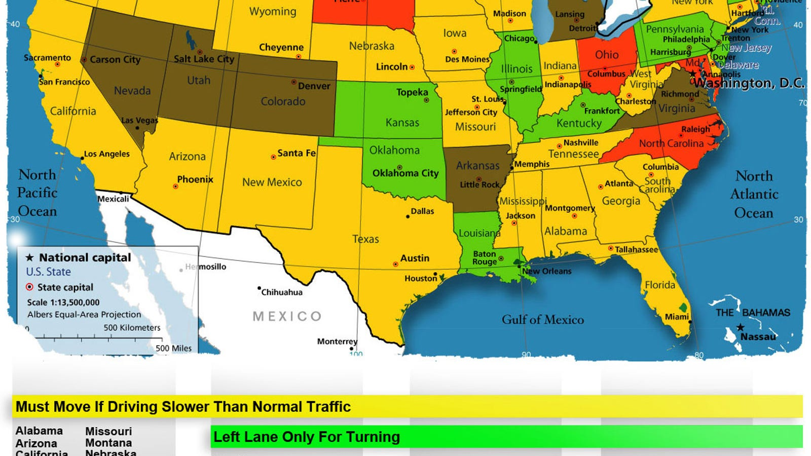 Left-Lane Passing Laws: A State-By-State Map