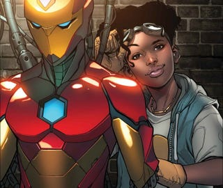 Riri Williams and her Ironheart suit from the cover of Invincible Iron Man #4.