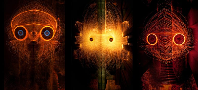 Illustration for article titled Light monster faces made of spinning molten metal