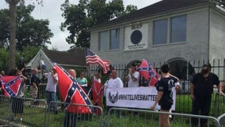 "Protesters promoting ""White Lives Matter"" rally in front of the Houston NAACP on Aug. 21, 2016YouTube Screenshot"