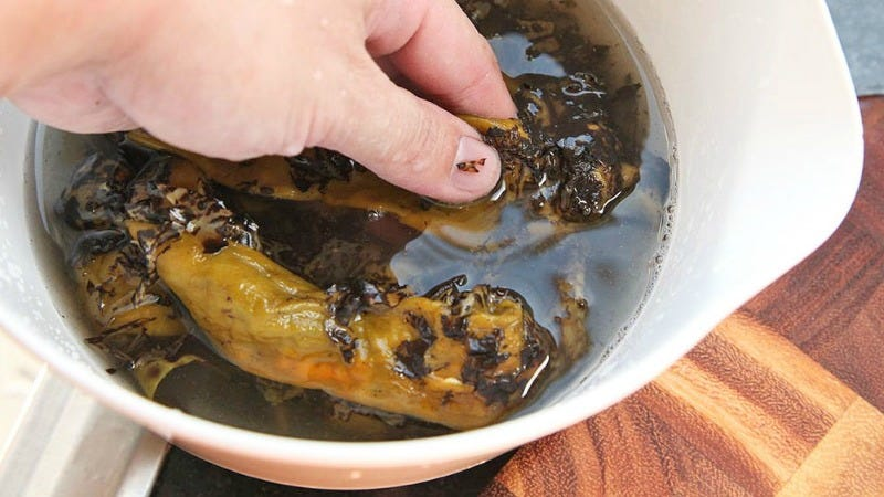 An Easy Way to Peel Charred Peppers that Leaves You With Flavorful Stock