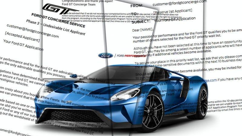 Illustration for article titled Here Are All The Letters Ford Sent People Trying To Get A Ford GT