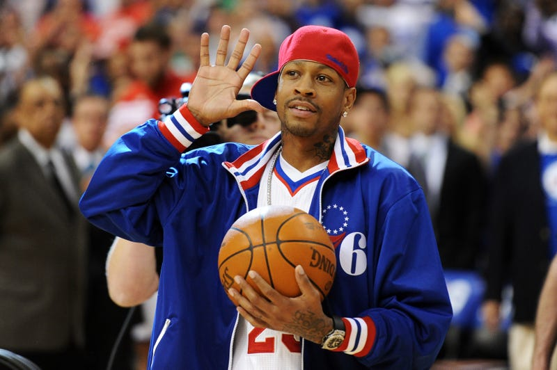 Former Philadelphia 76ers guard Allen Iverson walks onto the court to deliver the game ball before the game against the Boston Celtics in Game 6 of the Eastern Conference semifinals at the Wells Fargo Center on May 23, 2012, in Philadelphia.Drew Hallowell/Getty Images