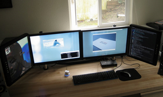 Illustration for article titled Custom Wire Management for Multi-Monitor Bliss