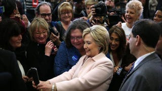 "Democratic presidential candidate Hillary Clinton greets supporters during a ""Get Out the Caucus"" event at Grand View University in Des Moines, Iowa, on Jan. 29, 2016.Justin Sullivan/Getty Images"