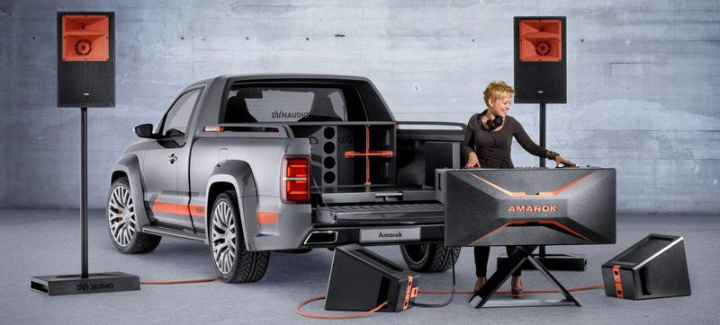 Illustration for article titled VW Built A Pickup With A 5,000 Watt Sound System, Because Partytime