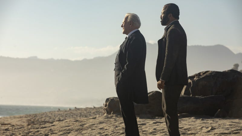 Ford (Anthony Hopkins) and Bernard (Jeffrey Wright) take in some of that natural splendor we keep hearing so much about.