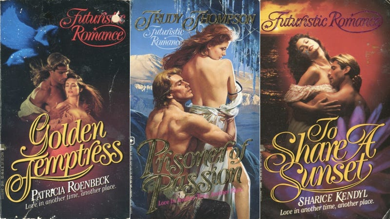 Illustration for article titled These Early-'90s 'Futuristic' Romance Covers Are Stunning and Wondrous
