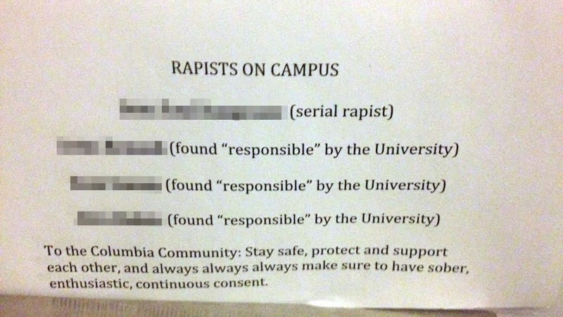 Earlier today  we reported that a  rapist list  penned by unknown authors  was appearing in women s bathroom stall walls on Columbia University s  campus. Here s The  Rapist List  Flyer Being Anonymously Handed Out At