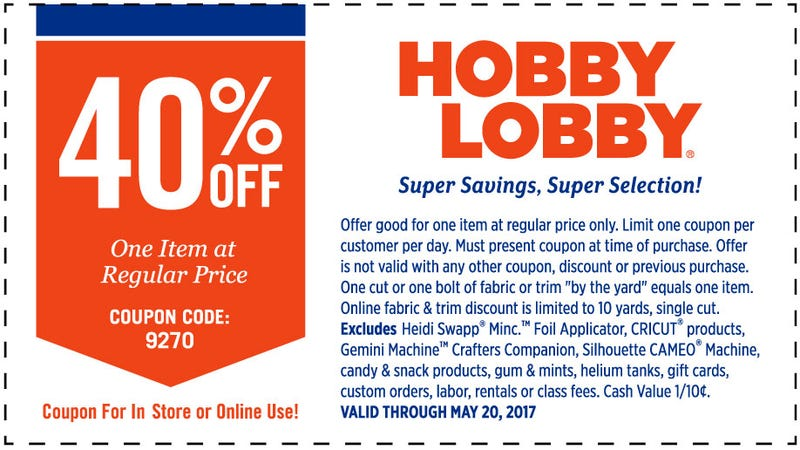 Illustration for article titled Hobby Lobby 40% Coupon (Until 5/20)