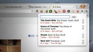Illustration for article titled My Episode Guide Tracks the Air Dates of Your Favorite TV Shows Right From Your Toolbar
