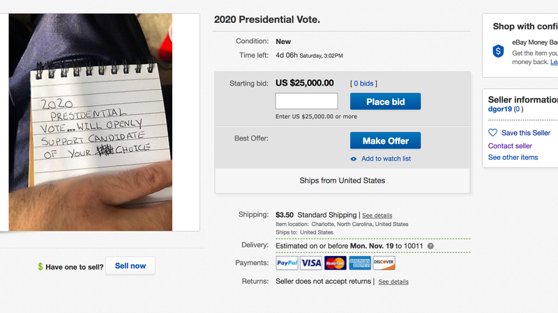 Illustration for article titled PSA: Don't Sell Your Vote on eBay Like This Person Is Doing