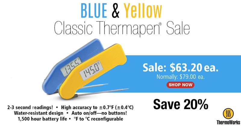 Blue & Yellow Classic Thermapens | $63 | ThermoWorks