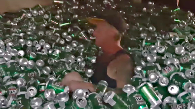 Illustration for article titled A ball pit made of 30,000 beer cans doesn't sound fun at all