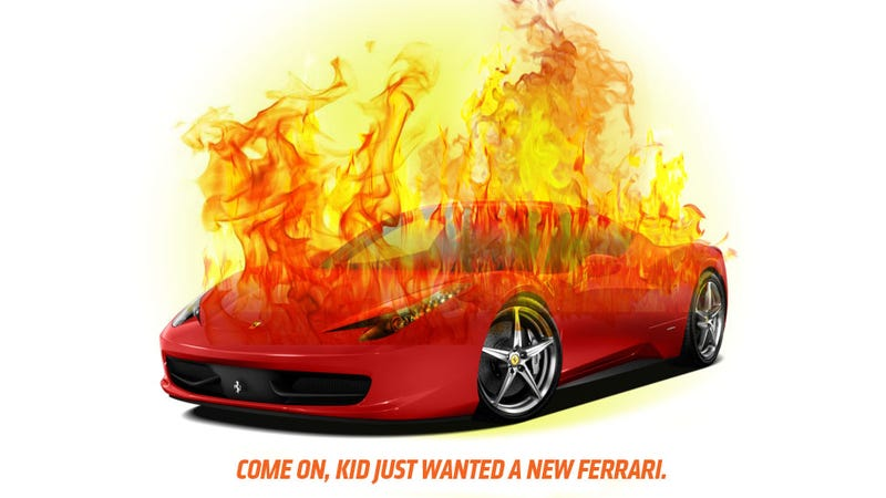 Illustration for article titled Spoiled Kid Tries To Get New Ferrari By Setting Fire To Old One