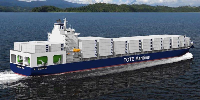 Illustration for article titled Estos dos grandes barcos portacontenedores contaminan un 99% menos