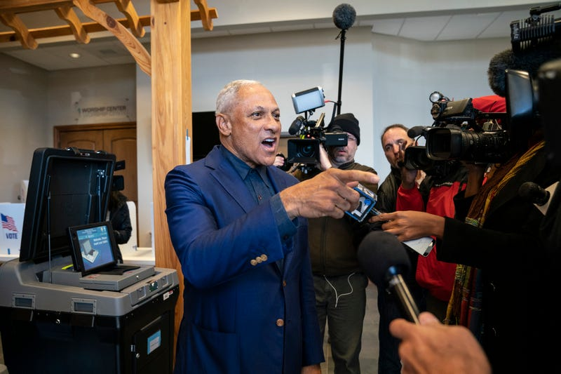 Democratic candidate for U.S. Senate Mike Espy speaks to reporters after voting at a polling place at Highland Colony Baptist Church, November 27, 2018 in Ridgeland, Mississippi. Voters in Mississippi head to the polls for today's special runoff election, where Espy is running in a close race with appointed Republican Senator Cindy Hyde-Smith.