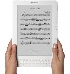 Illustration for article titled Sheet Music for Amazon Kindle DX Gets Rid of the, Um, Sheet
