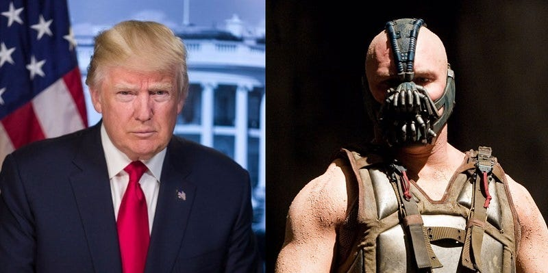 Illustration for article titled Donald Trump plagió a Bane, el villano de Batman, en su discurso de toma de posesión