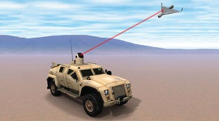 Illustration for article titled The Navy Wants to Mount an Anti-UAV Laser on a Hummer--A Hummer!
