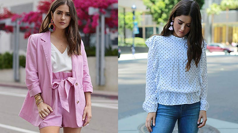 The Drop Women's Orchid Pink Oversized Turn-up Sleeve Blazer by @paolaalberdiThe Drop Women's Ivory Loose Fit Polka Dot Ruffled Blouse by @paolaalberdi