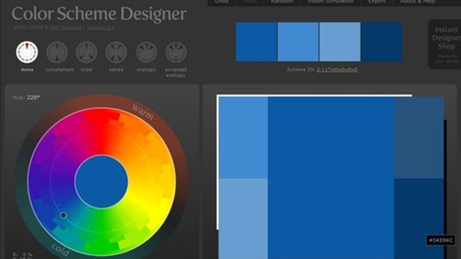 Color Scheme Designer is a Diverse Palette Creator