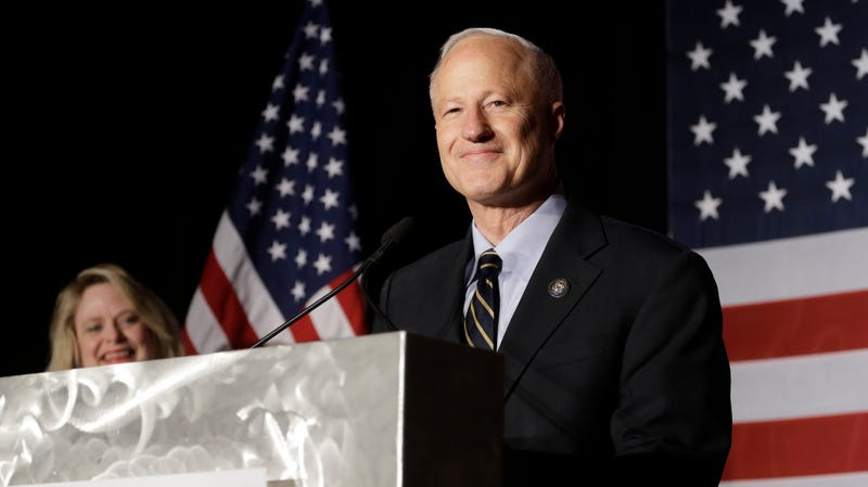 Rep. Mike Coffman, R-Colo., gives his victory speech at the Colorado Republican election night party Tuesday, Nov. 8, 2016, in Greenwood Village, Colo.