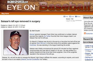 """Illustration for article titled CBS Runs A Misguided """"Eye On Baseball"""" Story About Luis Salazar's Lost Left Eye"""