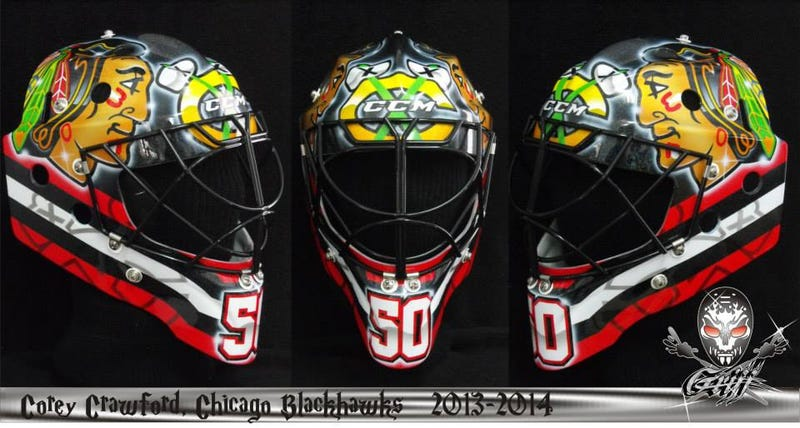 Illustration for article titled Corey Crawford's Stadium Series Mask Is Missing