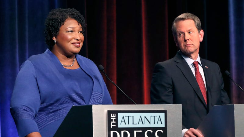 Democratic nominee for governor of Georgia Stacey Abrams, left, and Republican nominee Brian Kemp, right.