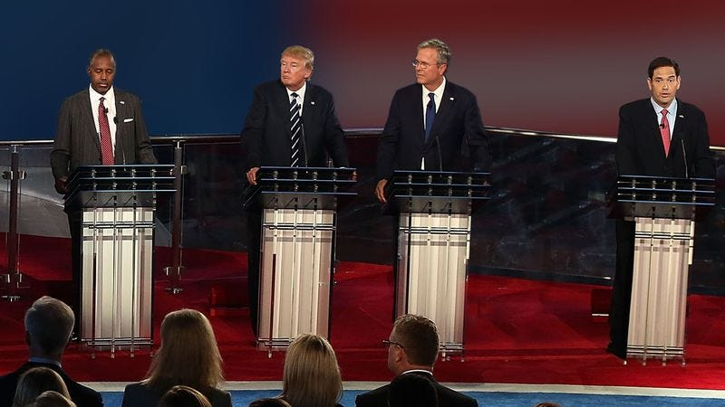 Illustration for article titled Jeb Bush Inching Podium Closer To Center Of Stage During Commercial Breaks