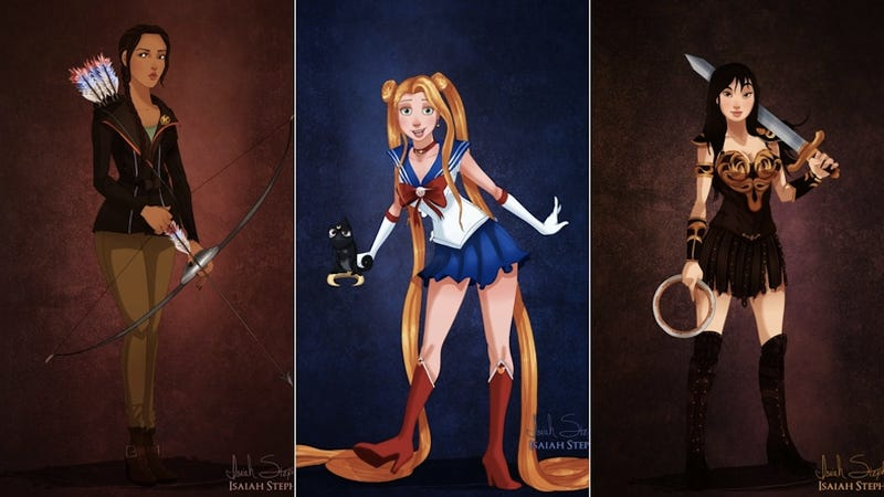 Illustration for article titled Disney princesses dress up as their favorite heroines