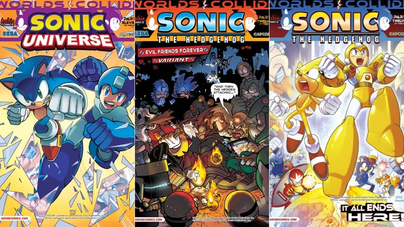 Illustration for article titled Take a Look at How Sonic and Mega Man Level Up in Their Archie Comics Crossover