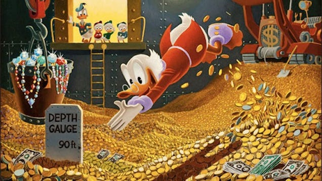 Image result for scrooge jumping into money pool