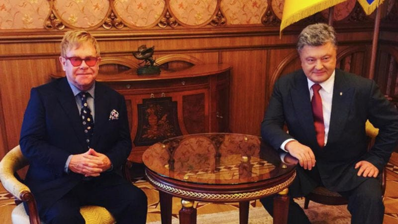 Elton John and Petro Poroshenko (Photo via John's Instagram)