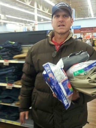 Illustration for article titled Photo Evidence Of Jim Harbaugh Buying Walmart Khakis