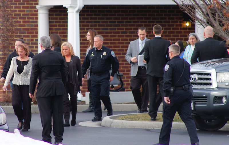 Mourners exiting Nicole Lovell's funeral on Feb 4th