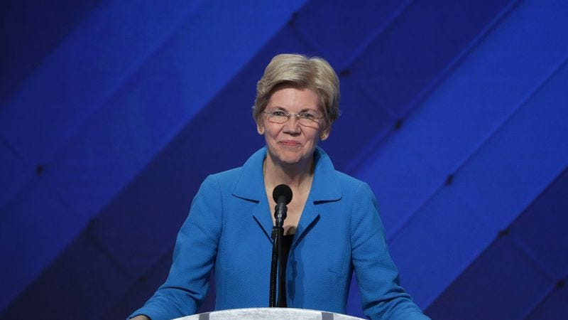 Senator Elizabeth Warren at the Democratic National Convention, July 28, 2016 (Photo by Alex Wong/Getty Images)