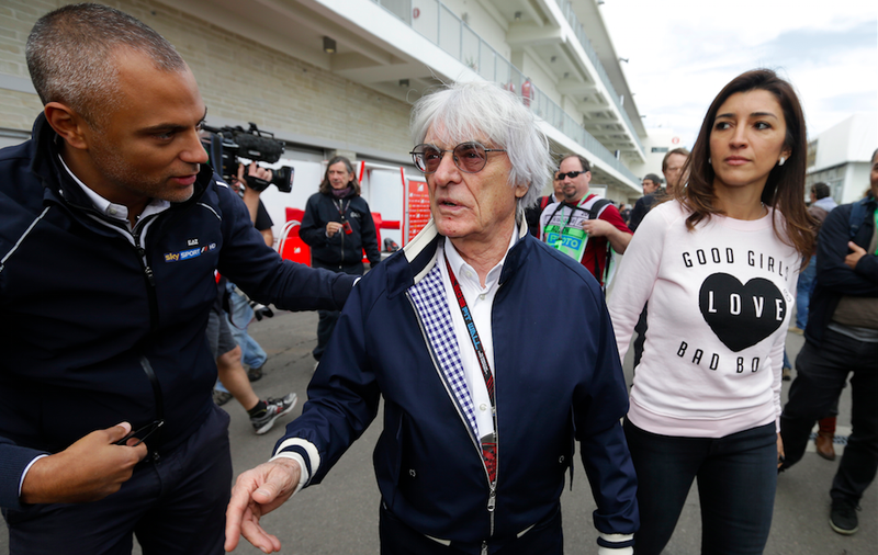 Ecclestone and wife Fabiana Flosi at Circuit of the Americas in Texas. Fiosi's mother was abducted in Brazil last week. Photo: Darron Cummings/AP