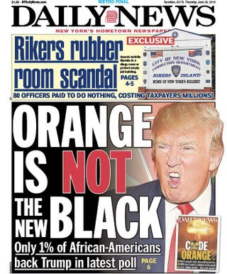 The Daily News in New York created this front page for Thursday, June 30, 2016.New York Daily News