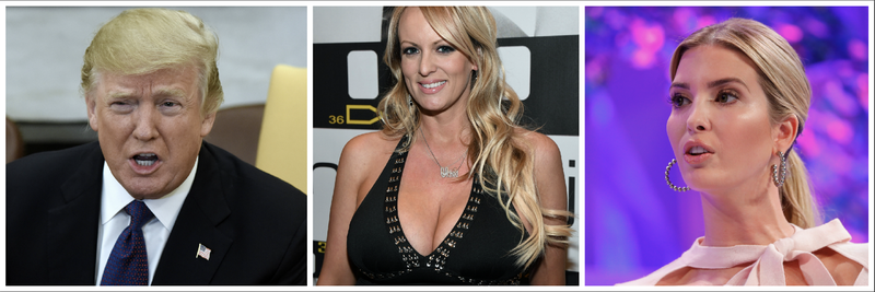 Donald Trump (Pool/Getty Images); Stormy Daniels (Ethan Miller/Getty Images); Ivanka Trump (Paul Morigi/Getty Images for Fortune)
