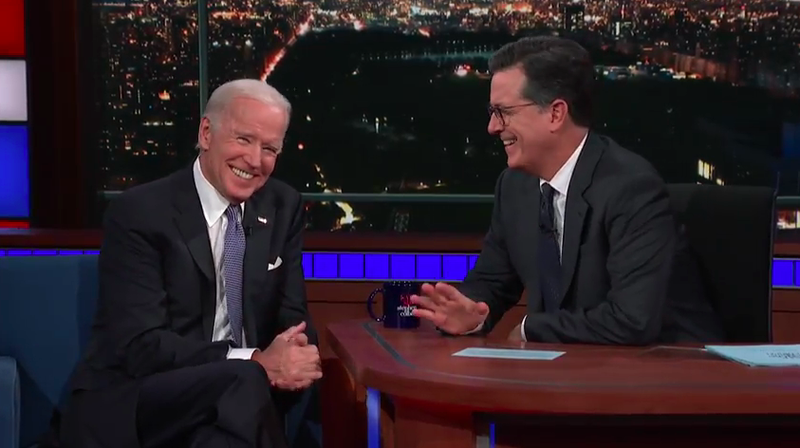 Illustration for article titled Joe Biden won't tell Stephen Colbert if he wants to be president, makes damn clear who shouldn't be