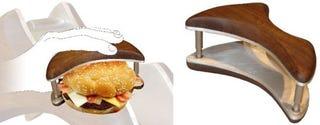 Illustration for article titled Chompr Hamburger Grasper Ensures You Don't Spill Ketchup on Your Tuxedo