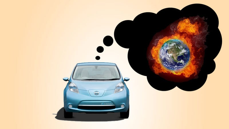 Illustration for article titled Electric Vehicles Can Be Twice As Bad For Global Warming So Stop Being So Smug, You