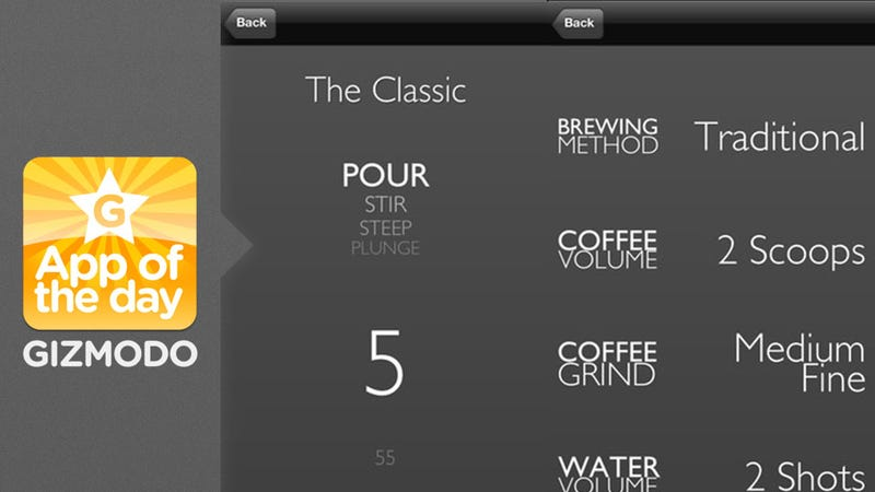 Illustration for article titled Aeropress Timer: Control Your Coffee Brewing From Your iPhone