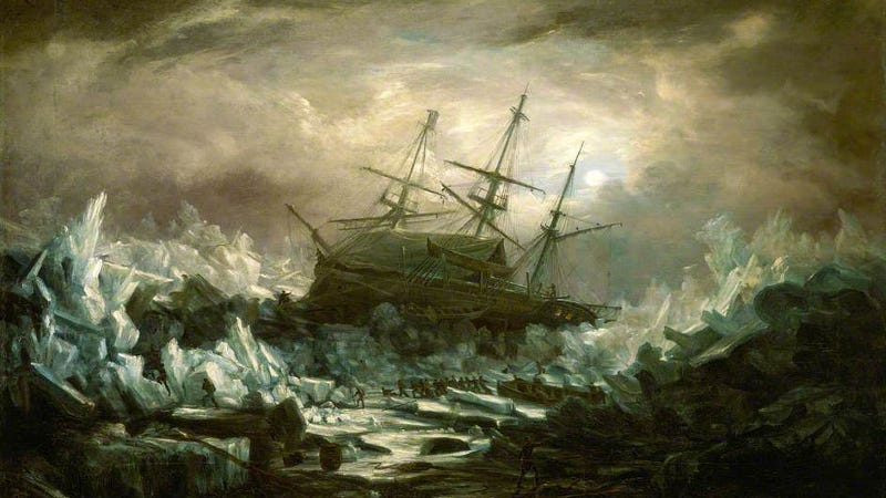 """Perilous Position of HMS 'Terror', Captain Back, in the Arctic Regions in the Summer of 1837"" by William Smyth R.N. The 'Terror' survived this journey to the Arctic, but it never returned from the 1845 Franklin Expedition."