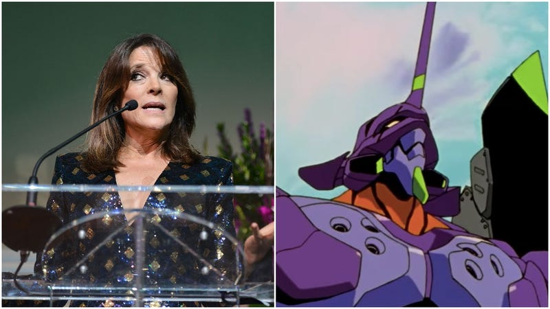Illustration for article titled Marianne Williamson's new campaign strategy: critical reads of Neon Genesis Evangelion