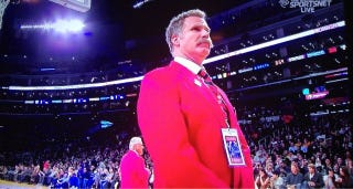 """Illustration for article titled Will Ferrell Was An Usher At Last Night's Lakers Game, Wore A """"Ted Vagina"""" Name Tag"""